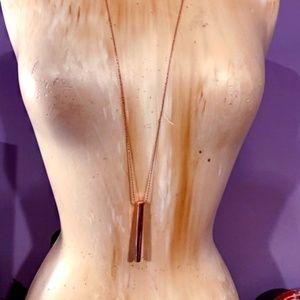 Long Rose Gold Cylinder Necklace